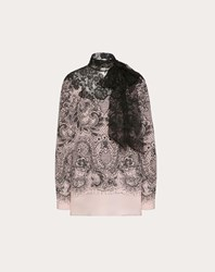 Valentino Lace Print Crepe De Chine And Lace Top Multicoloured