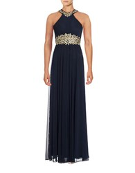 Betsy And Adam Embroidered Halter Gown Navy