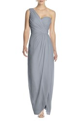 Women's Dessy Collection One Shoulder Draped Chiffon Gown Platinum