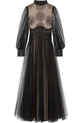 Valentino Appliqued Tulle Gown Black