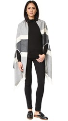 Madewell Cape Scarf In Woodward Stripe Heather Medium Grey