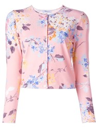Blumarine Floral Print Cropped Cardigan Pink And Purple