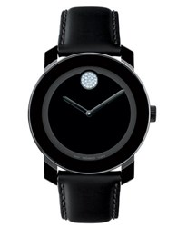 Movado Unisex Bold Black And Crystal Leather Watch
