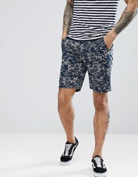 Bellfield Slim Fit Chino Short With Wave Print Navy