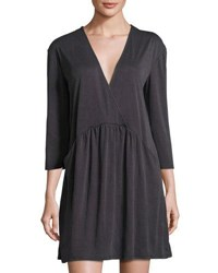 Montagne V Neck 3 4 Sleeve Tunic Dress Charcoal