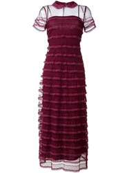 Red Valentino Sheer Tulle Dress Red