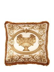 Versace La Vase Baroque Silk Accent Pillow Gold White
