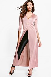 Boohoo Evelyn Double Breasted Slinky Maxi Duster Mauve