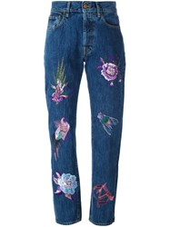 Aries Embroidered High Waisted Jeans Blue