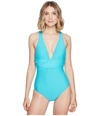 Athena Solids Cross One Piece Lagoon Women's Swimsuits One Piece Blue