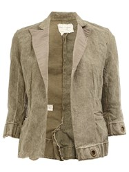 Greg Lauren Cropped Blazer Jacket Green