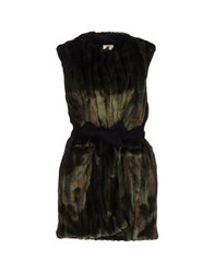 Annie P. Coats And Jackets Faux Furs Dark Green
