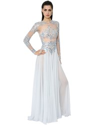 Zuhair Murad Embellished Silk Tulle And Georgette Gown