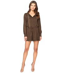 Adelyn Rae Long Sleeve Romper Olive Women's Jumpsuit And Rompers One Piece