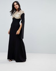 A Star Is Born Cape Sleeved Jersey Maxi Dress With Embellished And Mesh Top Black