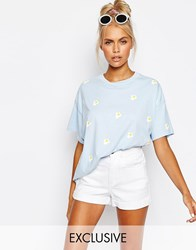 Lazy Oaf Boyfriend T Shirt In Mini Fried Eggs Print Blue