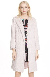 Milly Sequin Faux Fur Coat Blush