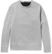 Theory Brence Contrast Trimmed Melange Bonded Jersey Sweatshirt Gray