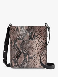 Allsaints Adelina North South Small Leather Snake Tote Bag Snake Pink