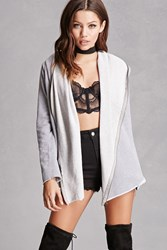Forever 21 French Terry Zipper Cardigan Grey