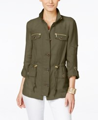 Inc International Concepts Linen Utility Jacket Only At Macy's Bright White