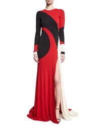 Naeem Khan Colorblock Long Sleeve Gown Red Black White Red Pattern