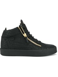 Giuseppe Zanotti Design Crocodile Embossed High Top Sneakers Black