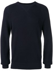 Z Zegna Long Sleeve Fitted Sweater Blue