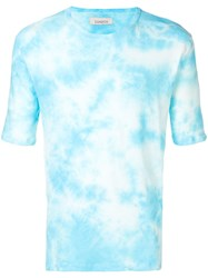 Laneus Tie Dye Fitted T Shirt Blue