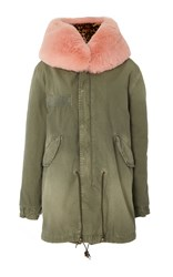Mr And Mrs Italy Leopard Print Fur Lined Midi Parka Green