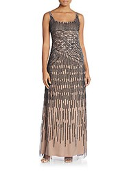 Adrianna Papell Spiral Bead Gown Gunmetal