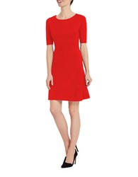 Ellen Tracy Solid Pleated Hem A Line Dress Red