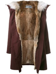 Yves Salomon Classic Rabbit Fur Lined Parka Pink And Purple