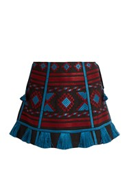 Vita Kin Croatia Embroidered Linen Mini Skirt Black Multi