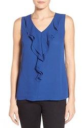 Women's Dex Ruffle V Neck Top Royal Blue