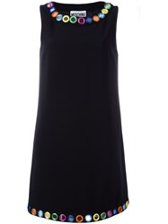 Moschino Mirror Embroidered Shift Dress Black