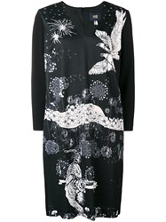 Class Roberto Cavalli V Neck Eagle Print Dress Black