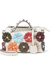 Fendi By The Way Mini Appliqued Leather Shoulder Bag White