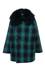 Etro Checked Fur Collared Pea Coat Black Blue
