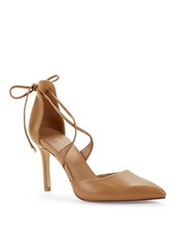 424 Fifth Bailee Leather Point Toe Lace Up Pumps Light Tan