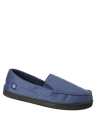 Isotoner Jake Heathered Microsuede Moccasin Slippers Navy