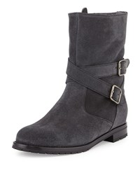 Campocross Shearling Lined Crisscross Buckle Boot Charcoal Manolo Blahnik Grey