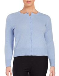 Lord And Taylor Plus Cashmere Button Front Cardigan Blue