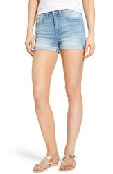 Sp Black Women's High Waist Cuffed Denim Shorts Light Wash
