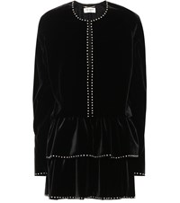 Saint Laurent Studded Velvet Minidress Black