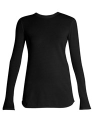 Vince Cotton And Cashmere Blend Long Sleeved T Shirt Black