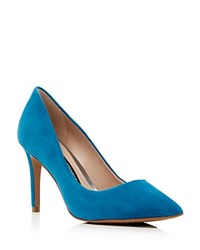 French Connection Rosalie Suede Pointed Toe Pumps Ink Blue