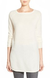 Petite Women's Halogen Shirttail Wool And Cashmere Boatneck Tunic Ivory Cloud