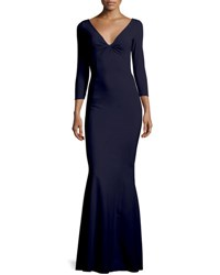 Chiara Boni La Petite Robe Custom Collection Saturnnia 3 4 Sleeve Twist Front Long Gown Blue Notte
