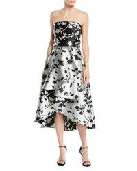 27f138f2f0c Shoshanna Isbell Strapless Fit And Flare Floral Jacquard High Low Cocktail  Dress Black White